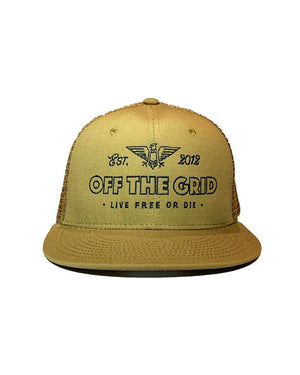 Escape-the-Grid-Snapback-Flatbill-Trucker-Hat-Coyote-OFF-THE-GRID