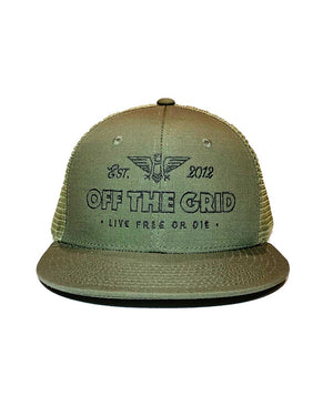 Escape-the-Grid-Snapback-Flatbill-Trucker-Hat-OD-Green-OFF-THE-GRID