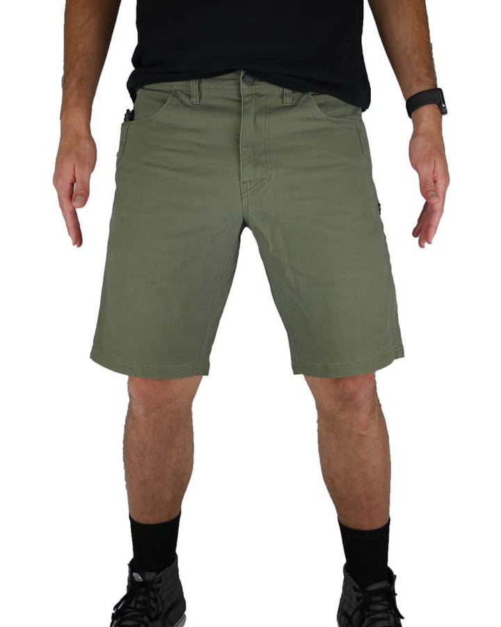 Havok-Shorts-10-Inch-Dark-Olive-Model-Front-OFF-THE-GRID