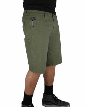 Havok-Shorts-12-Inch-Dark-Olive-Model-Side1-OFF-THE-GRID
