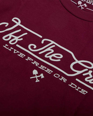 J-Train-Tee-Maroon-Front-close-Up-Off-The-Grid
