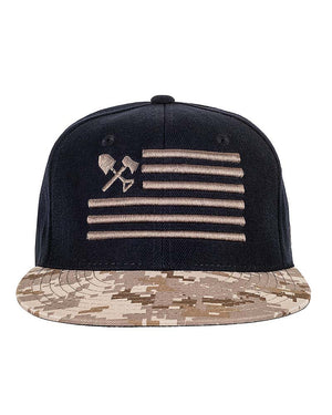 Shovel N Bars Camo Bill Snapback Front Desert Off The Grid