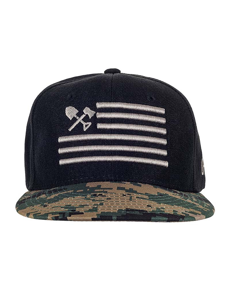 Shovel N Bars Camo Bill Snapback Front Woodland Off The Grid