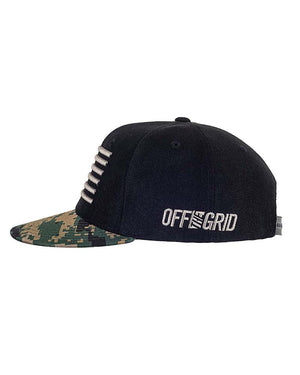 Shovel N Bars Camo Bill Snapback Side Woodland Off The Grid