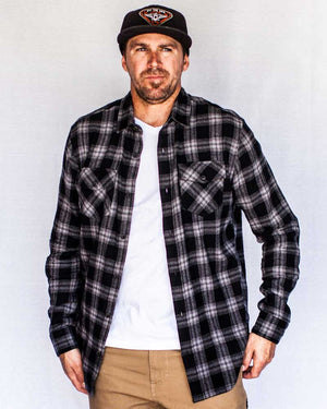Stampede-Flannel-Black-Front-unbuttoned-OFF-THE-GRID