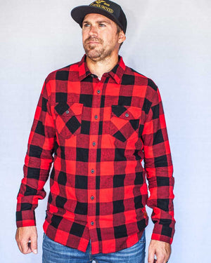 Stampede-Flannel-Red-Front-buttoned-OFF-THE-GRID