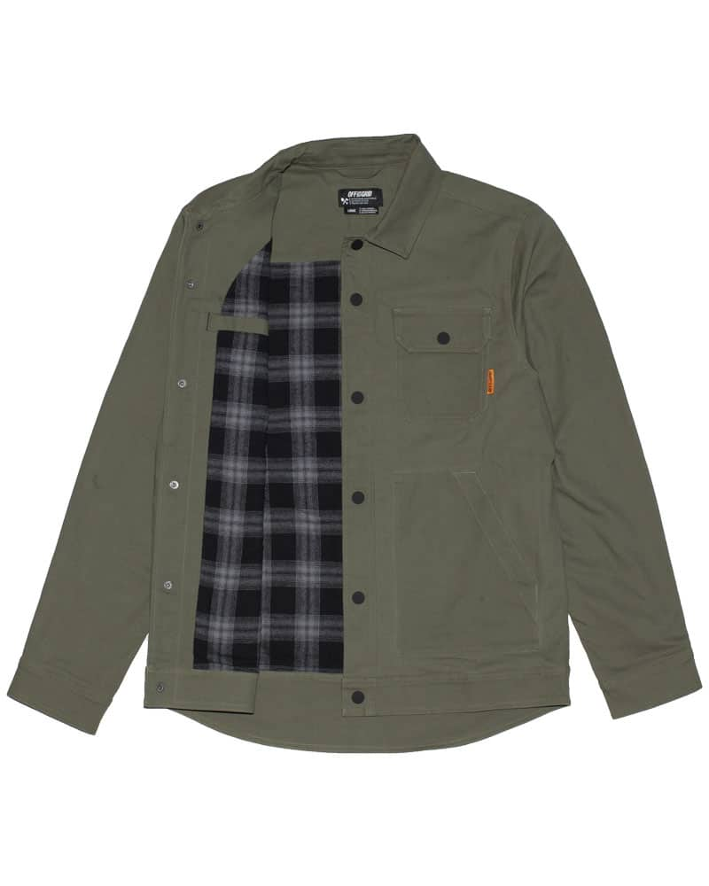 Torch-Jacket-Front-Flannel-Showing-Dark-Olive-OFF-THE-GRID