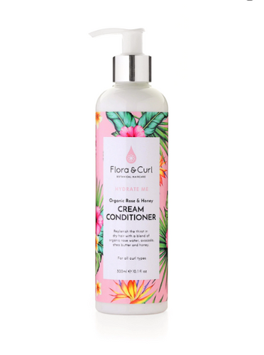 FLORA & CURL Organic Rose & Honey Cream Conditioner Product Bottle