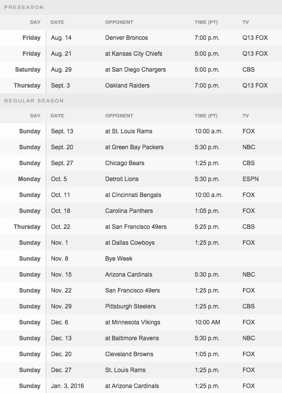 Richard Sherman Seattle Seahawks 2015 Schedule