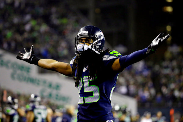 Richard Sherman of Seattle Seahawks during the playoff game vs Carolina Panthers