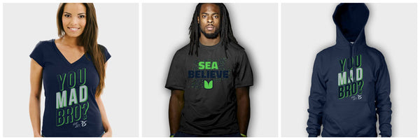 Richard Sherman SeaBelieve T-Shirt, You Mad Bro Hoodie, V-Neck