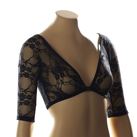 Sleevey Wonders Women's Basic 1/2 Sleeve Lace Undergarment Black