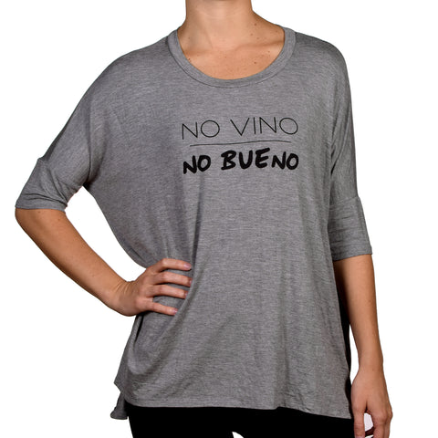 Los Angeles Trading Company No Vino No Bueno 3/4 Sleeve Tee Grey