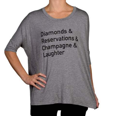 Los Angeles Trading Company Diamonds & Reservations 3/4 Sleeve Tee Grey