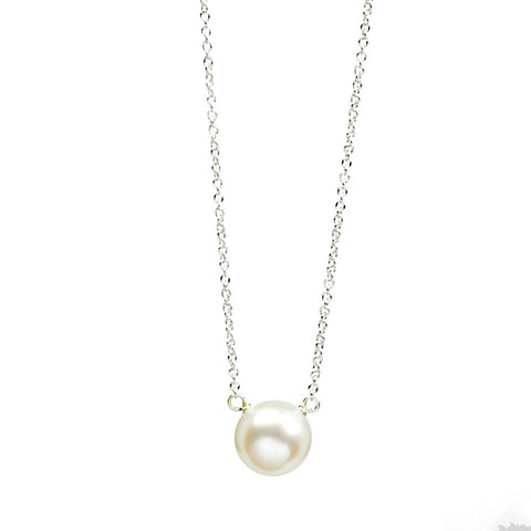 Dogeared I Love Mom Large White Pearl Necklace Sterling Silver 18""