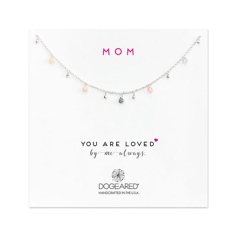 Dogeared Mom, You Are Loved Dangling Gem Necklace Sterling Silver 18""
