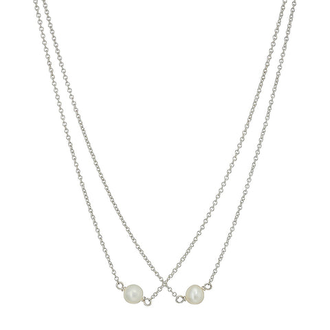 Dogeared Mother & Daughter 2 Small Pearl Necklaces Sterling Silver 18""