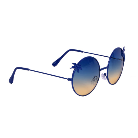Blue Gem Sunglasses Round With Blue/Yellow Gradient