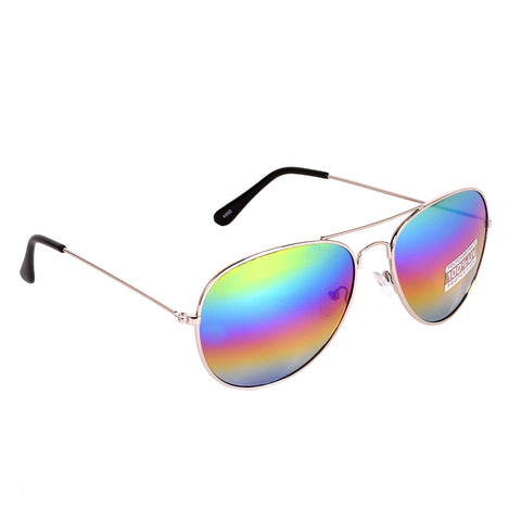 Blue Gem Women's Sunglasses Silver/Rainbow Mirror Lens