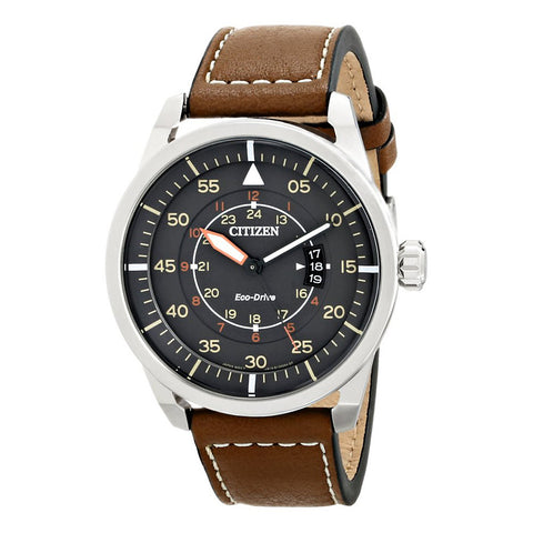 Citizen Men's Sport Stainless Steel Watch with Brown Leather Band
