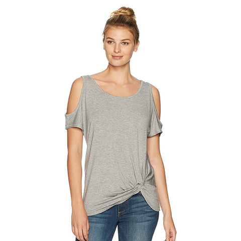 Democracy Women's SS Cold Shoulder Slv w/Knot Side Heather Grey