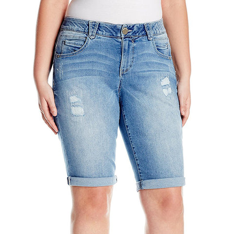 "Democracy Women's ""Ab"" Solution Bermuda Short Light Blue 13""/(15"" Uncuffed)"