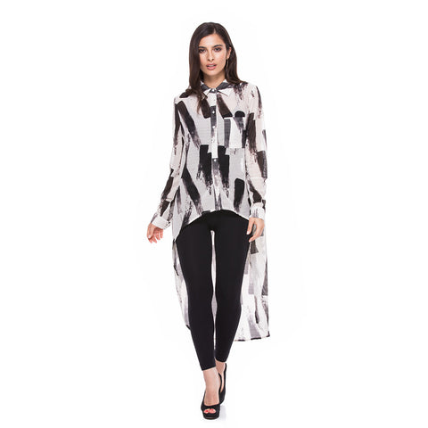 Adore Women's Long Sleeve Button Down Extreme Hi Low Top Black/White
