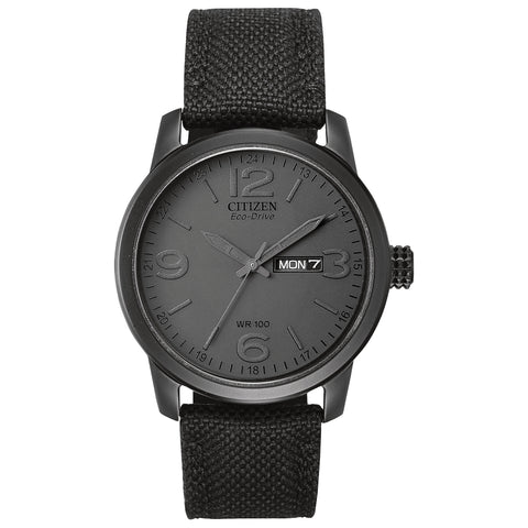 Citizen Men's Eco-DRV Black Nylon Quartz Watch w/ Grey Dial