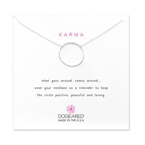 Dogeared Medium Sparkle Karma Necklace Sterling Silver 18""