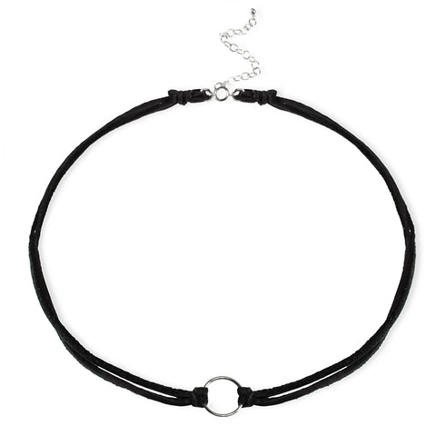 Dogeared Karma Black Leather Choker Sterling Silver 12.5""