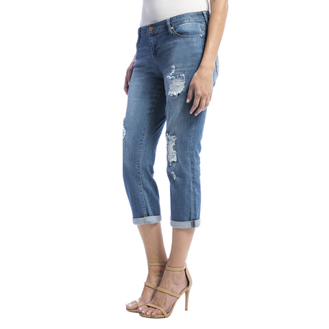 Liverpool Jeans Women's Corey Cropped Boyfrined Jean ML w/Destruct