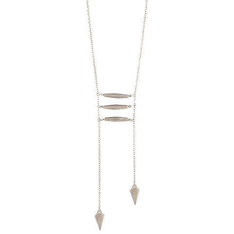 ZAD Jewelry Silver Bar & Spikes Long Necklace