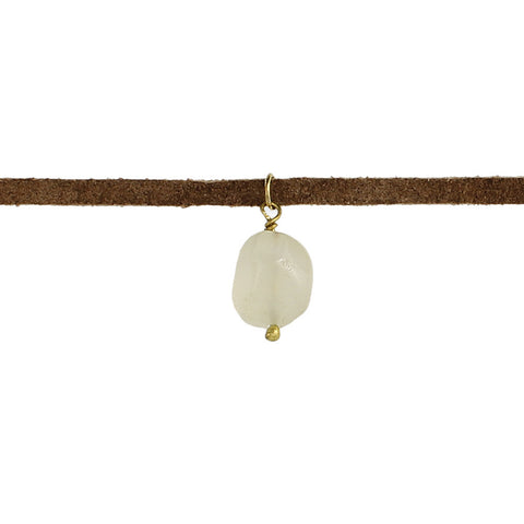 ZAD Jewelry Brown Suede Agate Chunk Choker White