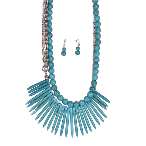 Golden Stella Women's Spike & Beads Necklace Turquoise