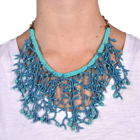 Golden Stella Women's Seed Beaded Fringe Coral Necklace Blue