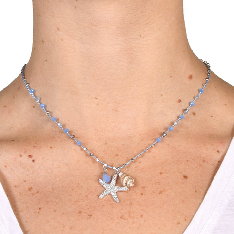 Golden Stella Women's Starfish & Seashell Necklace Set Blue
