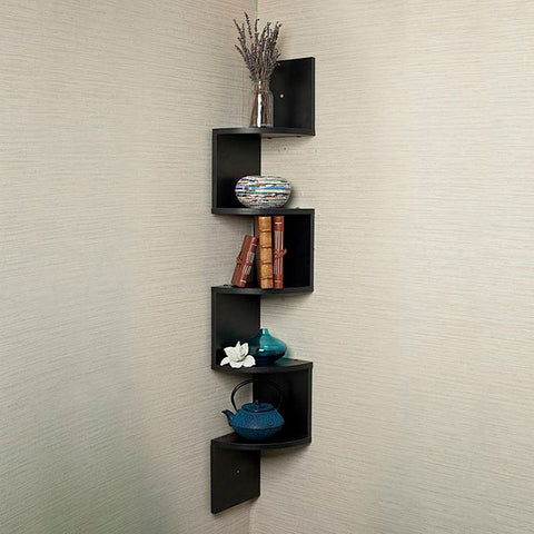Danya B. Large Laminated Corner Zig Zag Wall Mount Shelf - Black