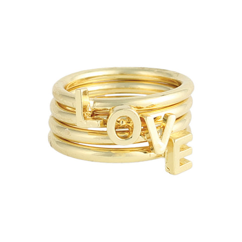 ZAD Jewelry Gold Love Stacking Ring Set
