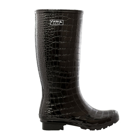 Roma Boots Women's Tall Rainboot Black Croc