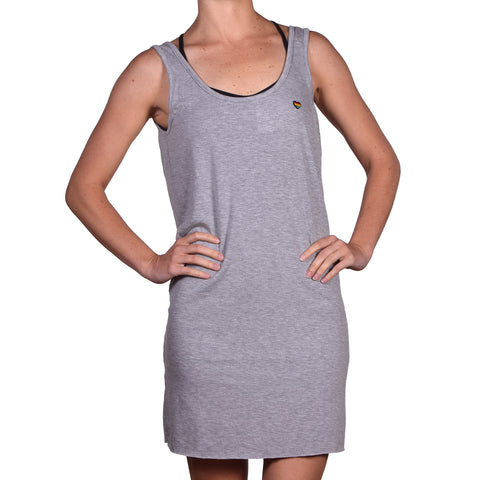 Spiritual Gangster Women's Mini Heart Heather Grey Short Dress