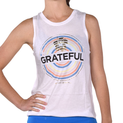 Spiritual Gangster Women's Grateful Medallion Muscle Tank Stardust