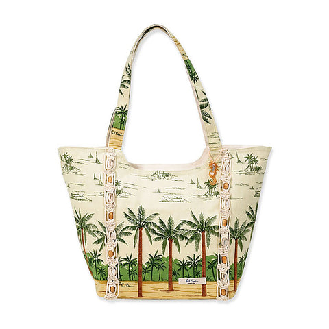 Sun N Sand Women's Zip Top Shoulder Tote Palm Print