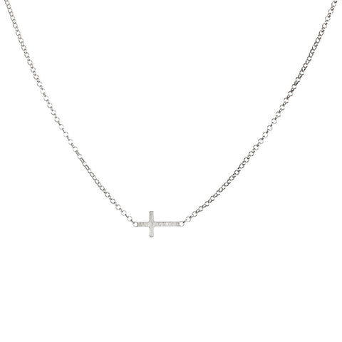 Dogeared Faith Small Sideways Cross Necklace Sterling Silver 18""