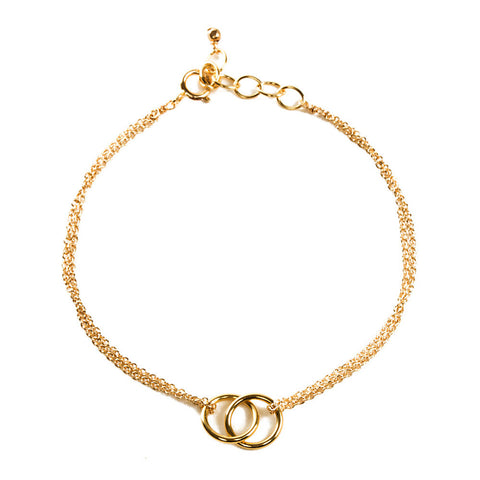 Dogeared Friendship Double-Linked Rings Chain Bracelet Gold Dipped 6""