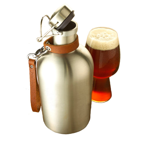 Wine Enthusiast Stainless Steel Beer Growler with Leather Carry Strap