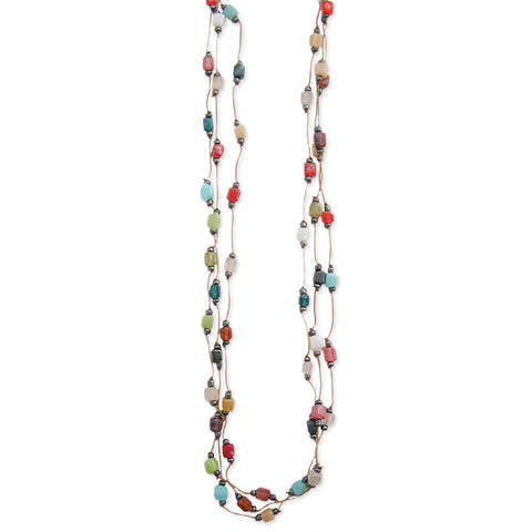 ZAD Jewelry 3 Line Multi Mosaic Square Bead Thread Necklace