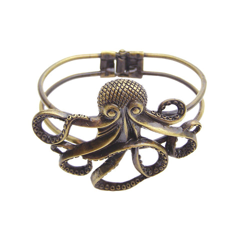ZAD Jewelry Antique Gold Octopus Hinge Cuff