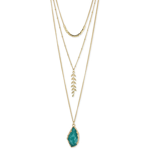 ZAD Jewelry Gold & Green Stone & Fern Long Necklace