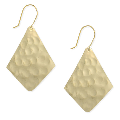 ZAD Jewelry Gold Hammered Diamond Shaped Earrings