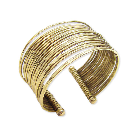 ZAD Jewelry Gold Metal Thin Hammered Bunch Cuff Bracelet